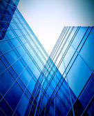 Evening glass perspactive wall of business build — Stock Photo
