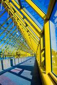 Yellow glass corridor in office — Stock Photo