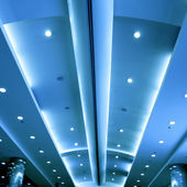 Modern blue ceiling — Stock Photo