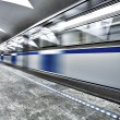 Move train on underground station — Stock Photo