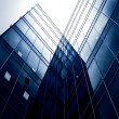 Blue glass transparent wall of modern bulding house — Stock Photo