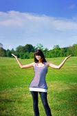 Beauty girl stay on the field — Stock Photo