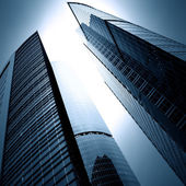 Modern glass business skyscrapers at night — Stock Photo