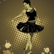 Girl in black dress dancing - Stock Vector
