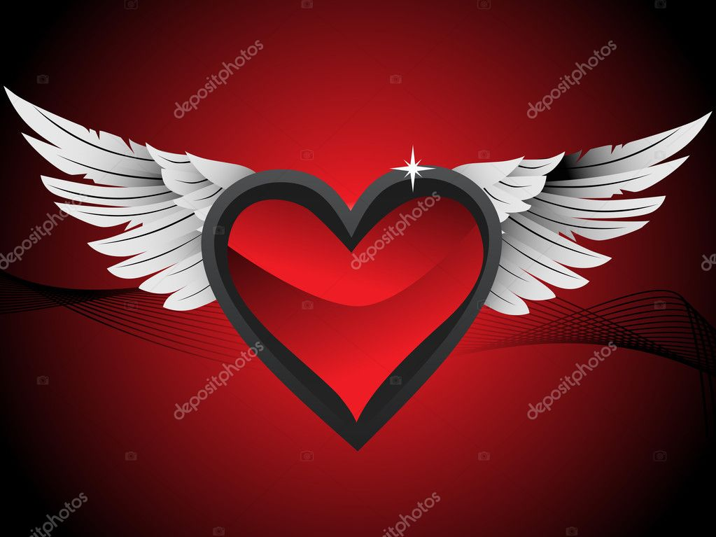 Glossy hearts with wings, red illustration — Stock Vector #2706837