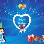 Happy birthday blue vector wallpaper — Stock Vector #2734572