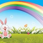 Happy bunny in the garden wallpaper — Stock Vector