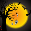Halloween scene background - Vettoriali Stock