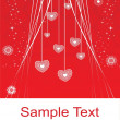 Hanging hearts red illustration — Vector de stock #2734688