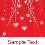 Висячие сердец красный Иллюстрация — Cтоковый вектор