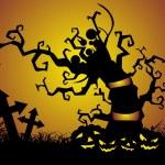 potiron sous l'arbre et la nuit — Vecteur