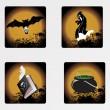 Halloween icons set_1, vector wallpaper — Stock Vector