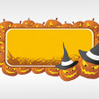 Stock Vector: Halloween frame with pumpkin