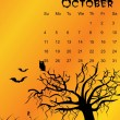 Stock Vector: Halloween background calendar