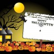 Halloween background with banner - Stok Vektör