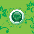 Stok Vektör: Green floral background illustration