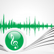 Green music icon with waves — Stockvektor