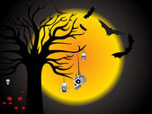 Halloween scene background — Stock Vector