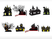 Vector set of halloween house — Stock Vector