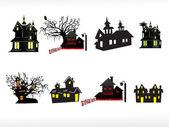 Vector set of halloween house — Stock Vector