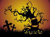 夜とかぼちゃの木の下で — ストックベクタ