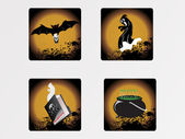 Halloween icons set_1, vector wallpaper — Vector de stock