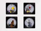 Cadılar bayramı cityscape simgeleri, duvar kağıdı — Stok Vektör