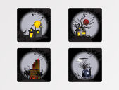 Iconos de halloween paisaje urbano, papel pintado — Vector de stock