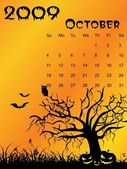 Halloween background calendar — Stock Vector