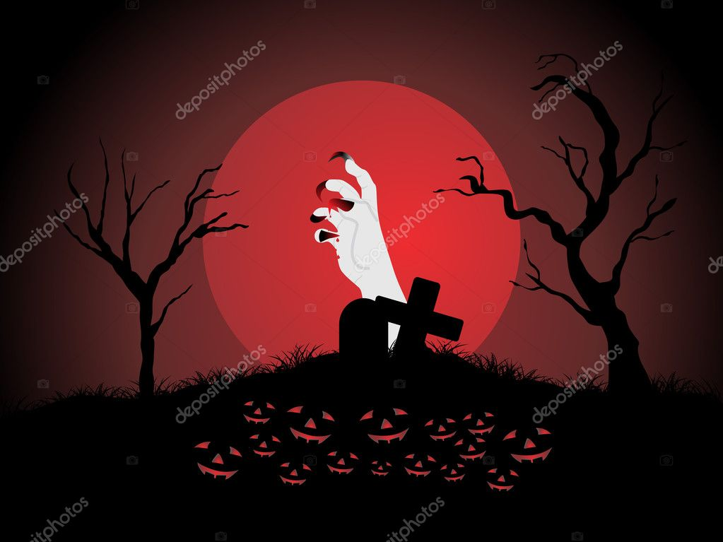 Hand coming out in the graveyard, wallpaper — Stock Vector #2734791
