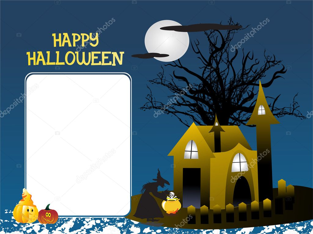 Halloween monster house with banner — Stock Vector #2734852