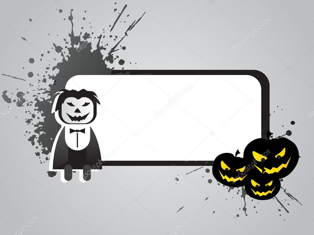 Halloween frame with pumpkin and cartoon on the grunge background — Stock Vector #2736472