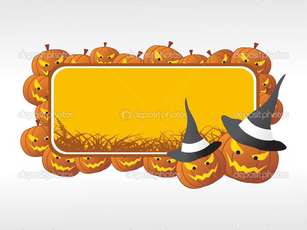 Halloween frame with pumpkin on the background — Stock Vector #2736486