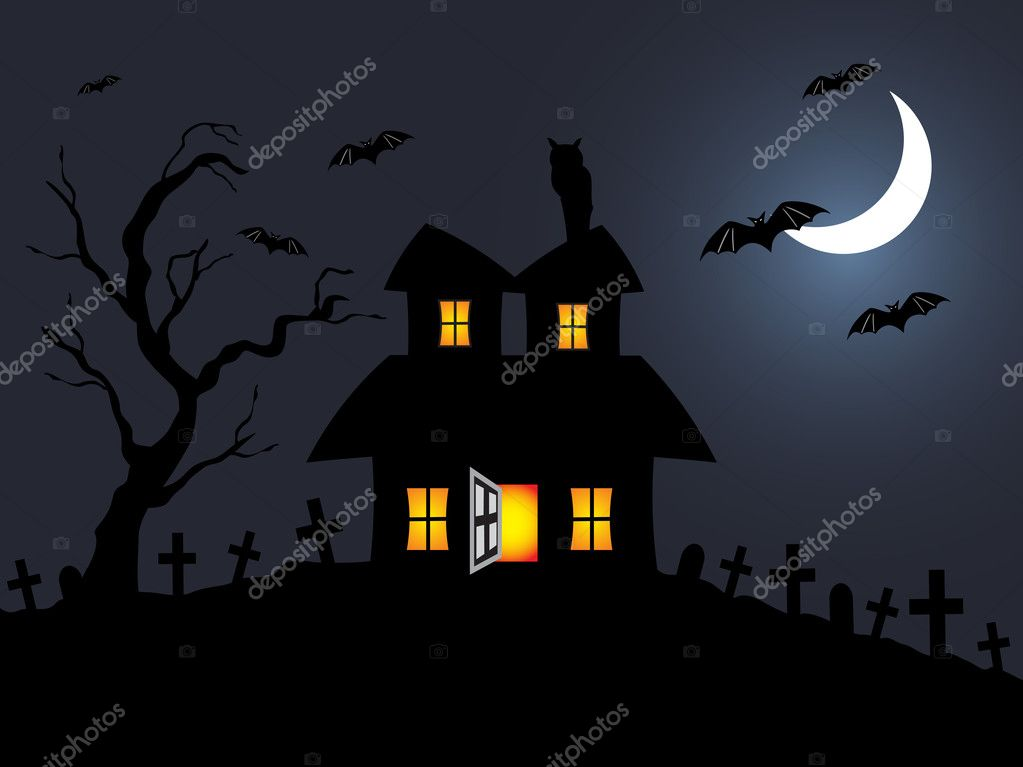 Halloween night scene in graveyard; illustration — Stock Vector #2736491