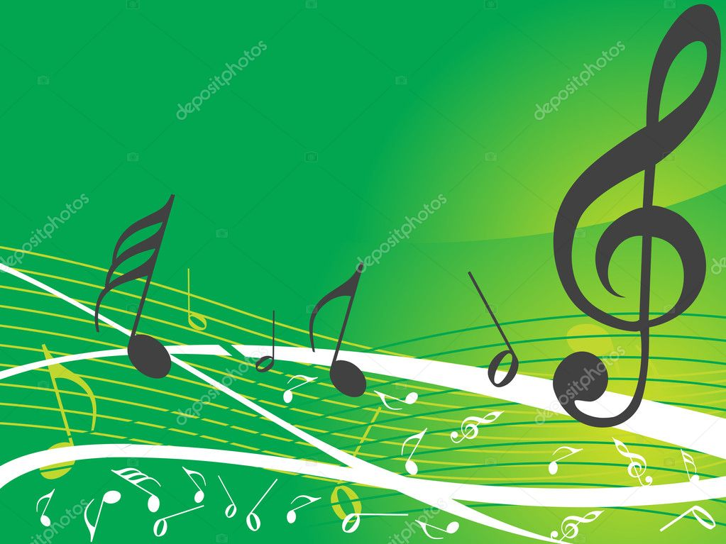 Green musical background with different notes, wallpaper — Grafika wektorowa #2737736