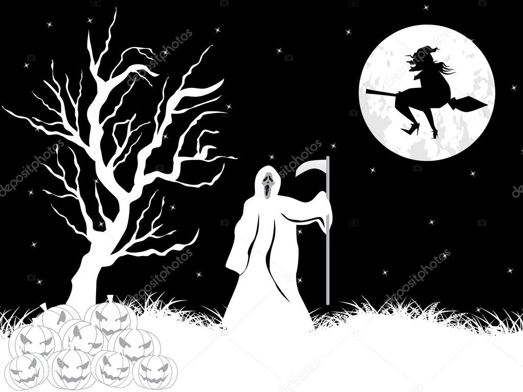 Abstract black and white halloween background, vector wallpaper — Stock Photo #2785681