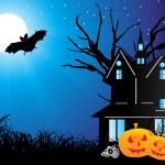 Halloween background with skull, pumpkin — Stock Vector
