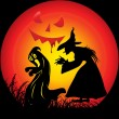 Halloween background with witch — Vector de stock
