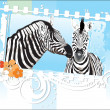 Floral frame with zebra couple — Stock Vector