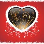 grunge ram hjärta med bakgrund — Stockvektor