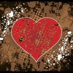 Grunge vector achtergrond met rood hart — Stockvector