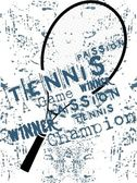 Grunge background of tenis rackets — Stock Vector