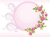 フラワー フレーム ピンク ローズ — ストックベクタ