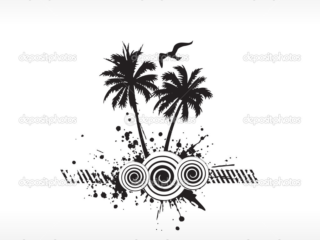 Grunge vector palm tree series on white, illustration  Stock Vector #2788679
