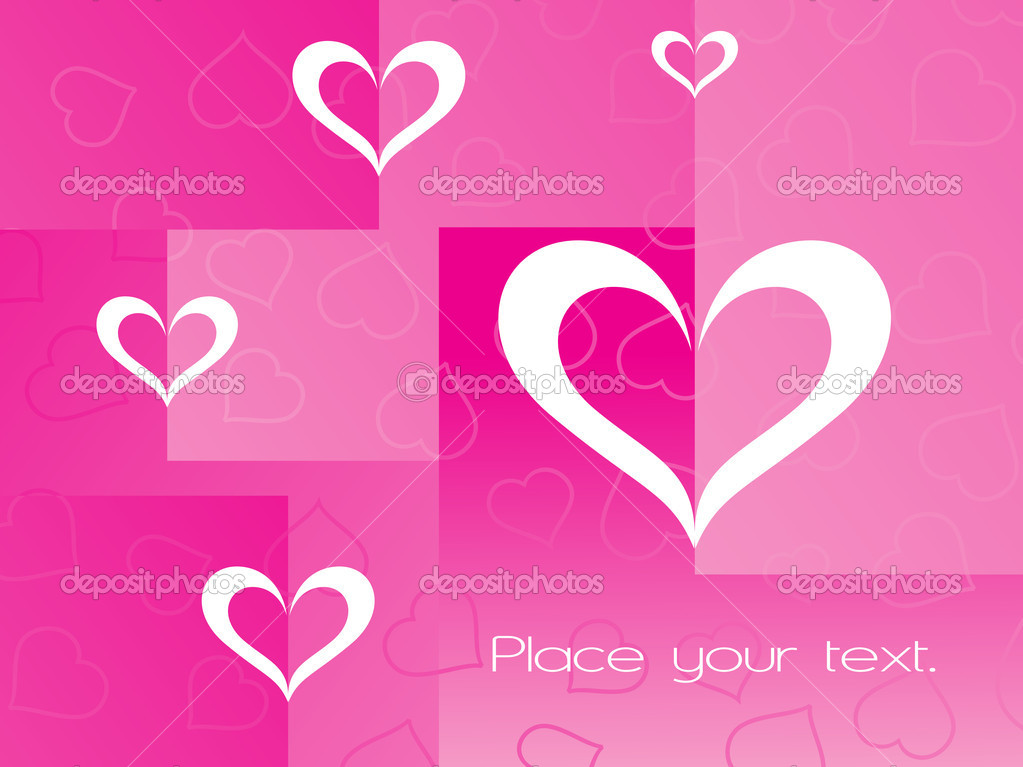 Pink background with heart and sample text — ベクター素材ストック #2798081