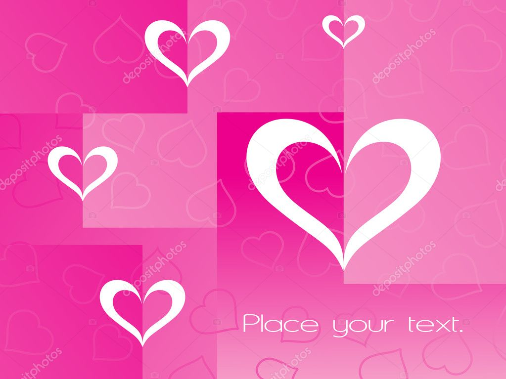 Pink background with heart and sample text — Image vectorielle #2798081