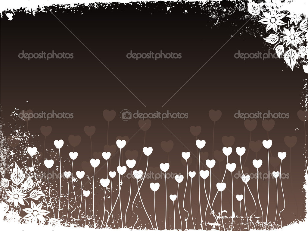 Abstract grungy border background with heart tree and bloom — Stockvectorbeeld #2798365