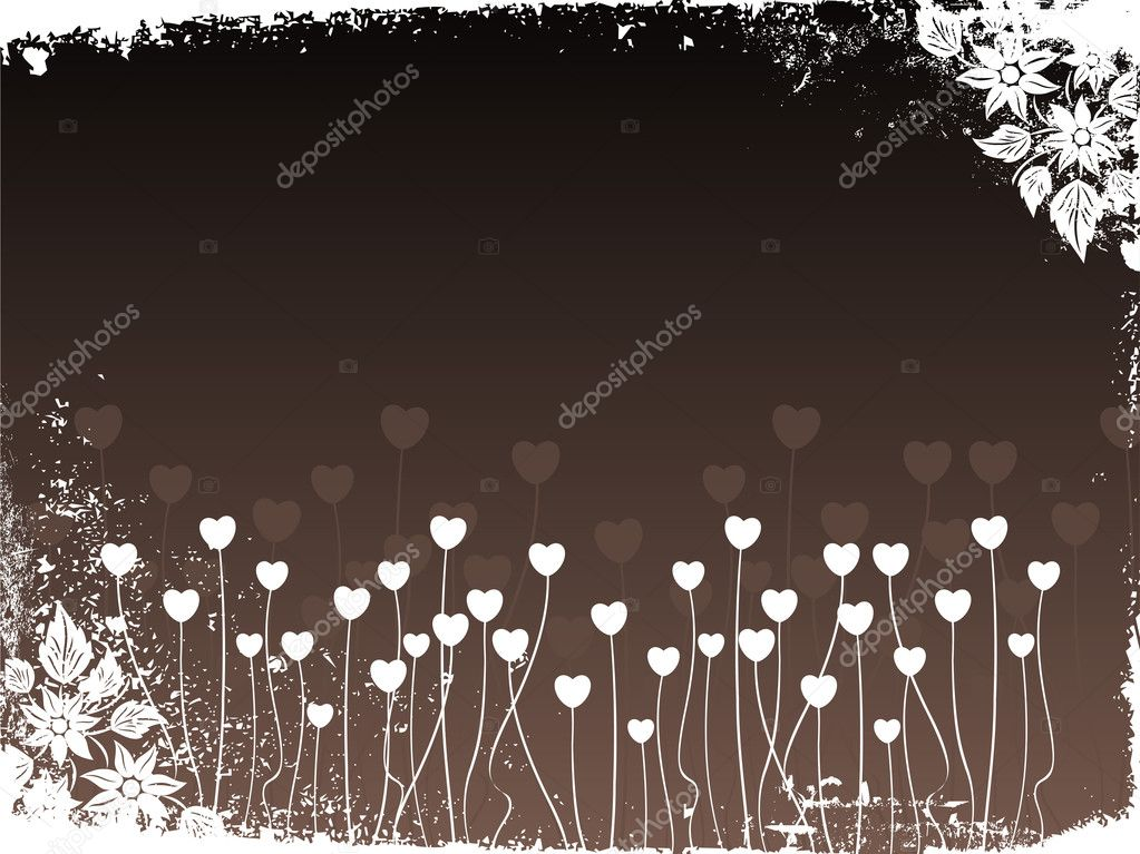 Abstract grungy border background with heart tree and bloom — Imagens vectoriais em stock #2798365