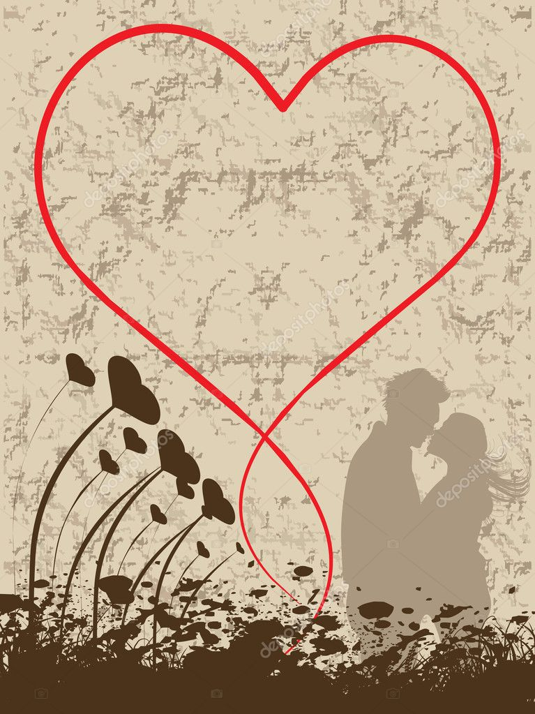Abstract grunge background with heart, kissing couple — Imagens vectoriais em stock #2798409