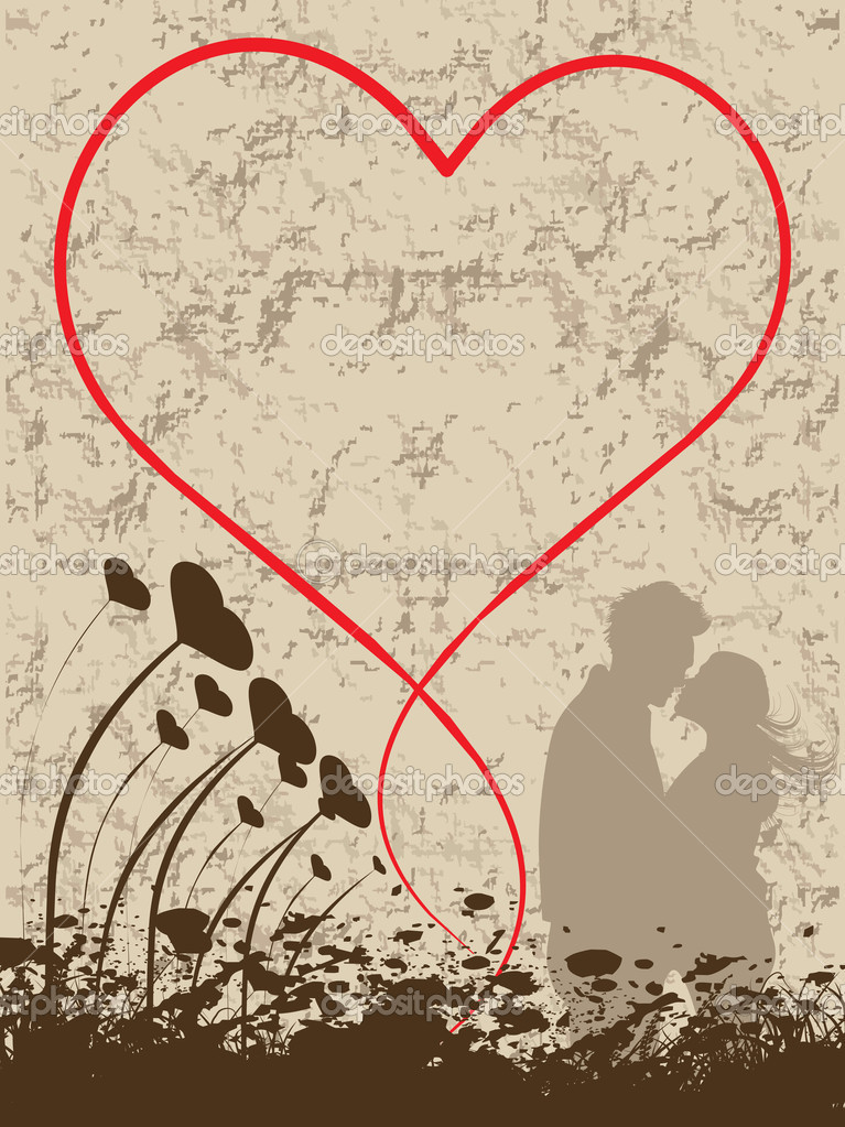 Abstract grunge background with heart, kissing couple — Stock Vector #2798409